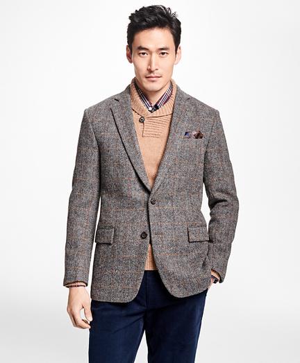 Regent Fit Harris Tweed Herringbone with Multi-Windowpane Sport Coat