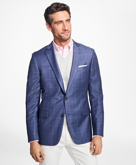 Regent Fit Windowpane Sport Coat Blue