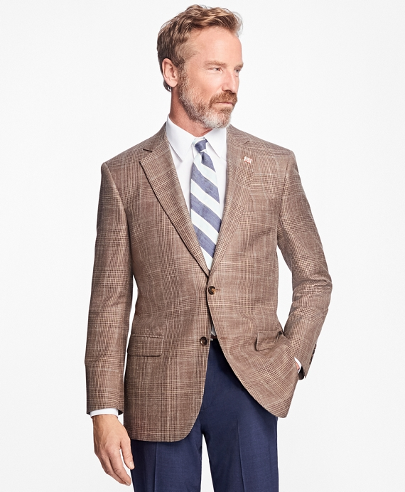 Madison Fit Saxxon™ Wool Plaid with Windowpane Sport Coat Brown