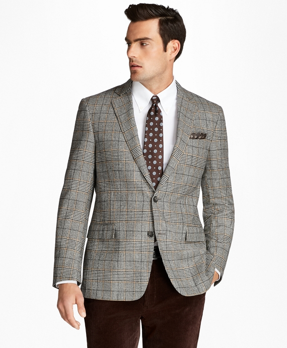 Regent Fit Black and White Plaid with Deco Sport Coat Black-White