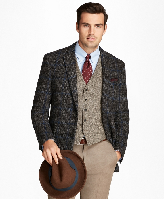 Regent Fit Harris Tweed Plaid with Deco Sport Coat Brown