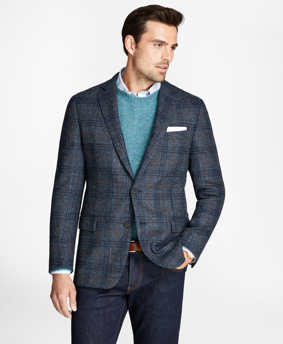 Regent Fit BrooksTweed® Plaid with Deco Sport Coat Blue