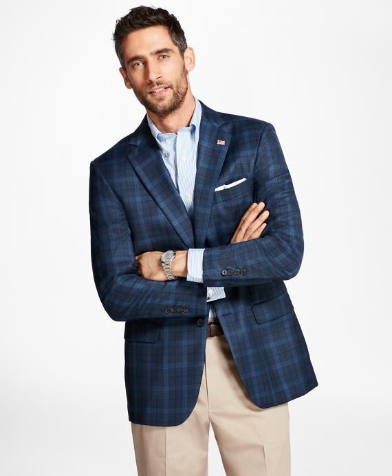 Madison Fit Saxxon™ Wool Windowpane Sport Coat Blue