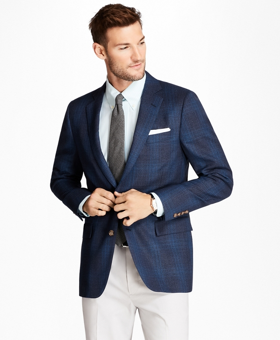 Regent Fit Plaid Hopsack Sport Coat Blue