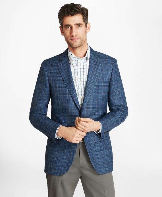 Madison Fit Saxxon™ Wool Plaid Sport Coat Blue
