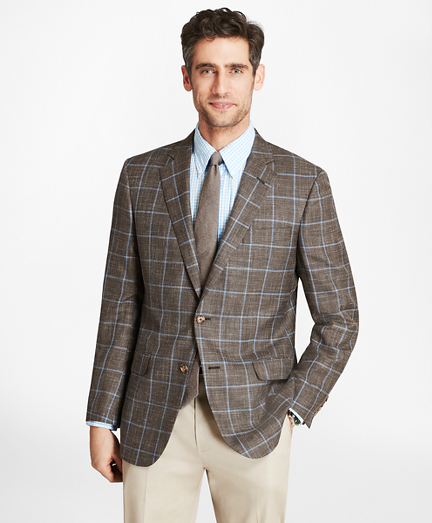 Madison Fit Saxxon™ Wool Brown with Blue Windowpane Sport Coat