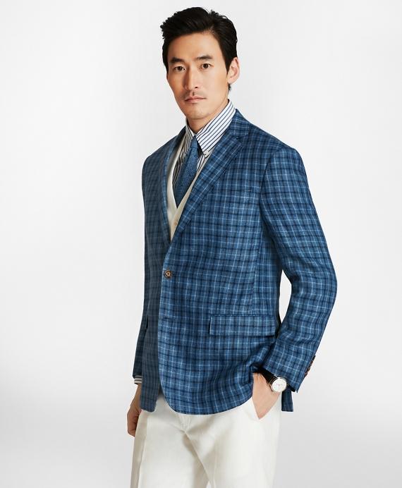 Regent Fit Multi-Windowpane Linen Sport Coat Blue