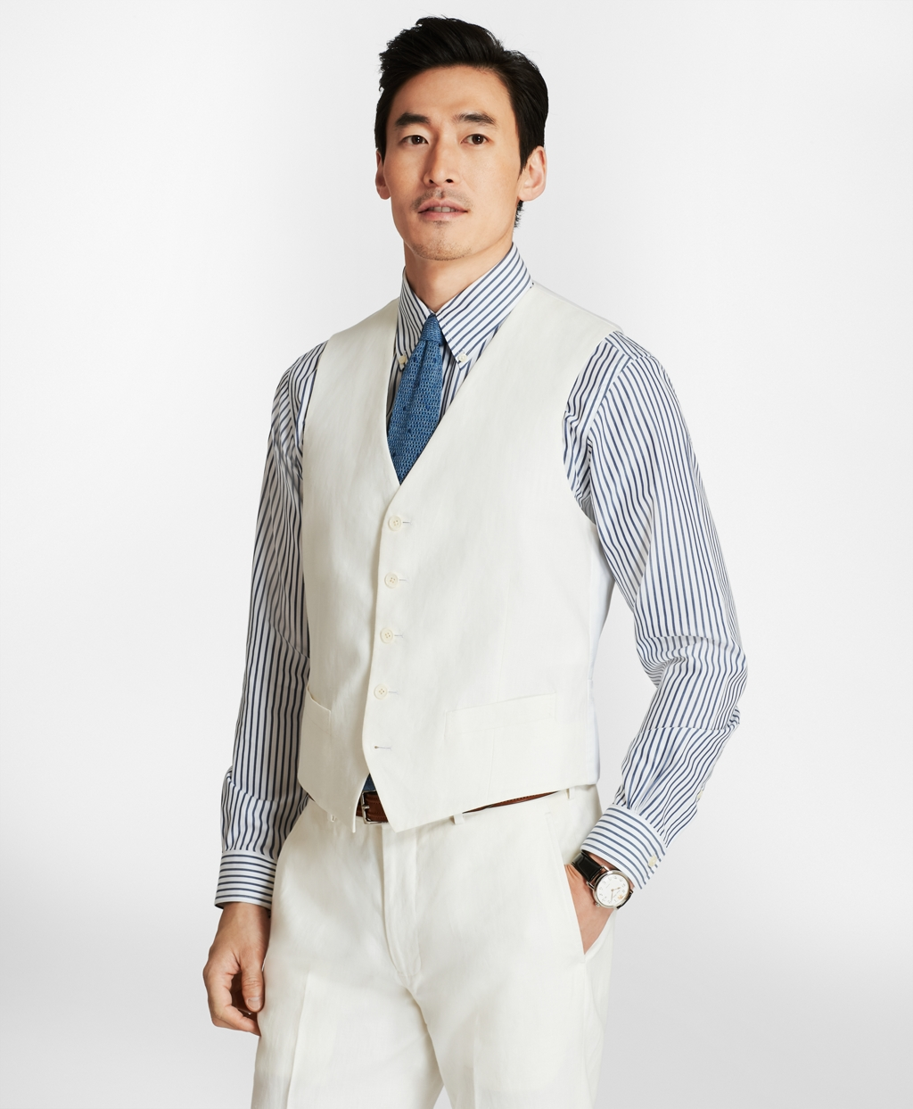 1920s Style Mens Vests Brooks Brothers Mens Five-Button Linen Vest $59.40 AT vintagedancer.com
