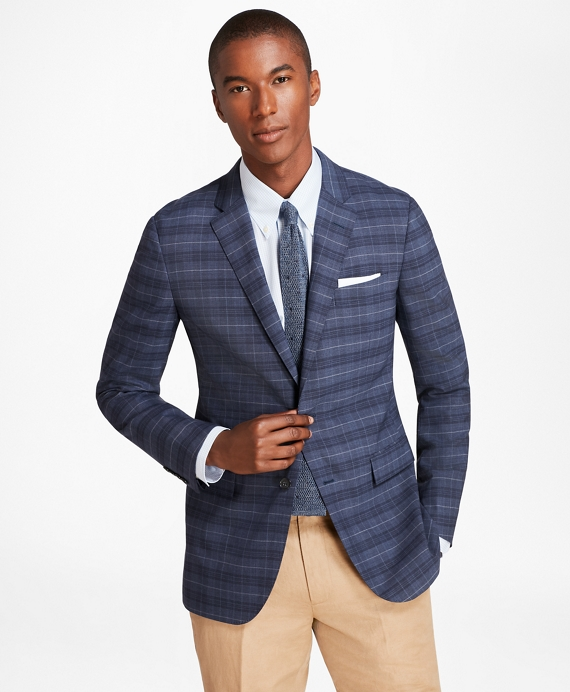 Milano Fit BrooksCool® Plaid with Windowpane Sport Coat Blue