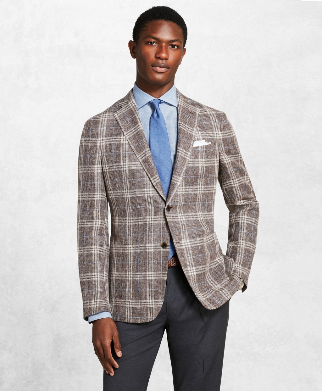Men's Vintage Style Suits, Classic Suits Brooks Brothers Mens Golden Fleece Checked Twill Sport Coat $898.80 AT vintagedancer.com