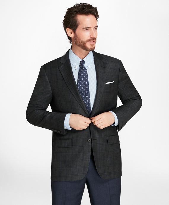 Madison Fit Bold Windowpane Sport Coat Grey-Blue