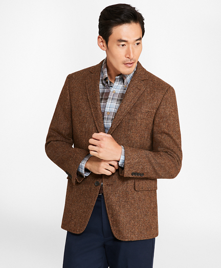 Regent Fit BrooksTweed® Brown Herringbone Sport Coat