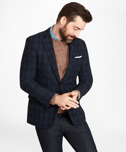 Regent Fit Navy Plaid Sport Coat