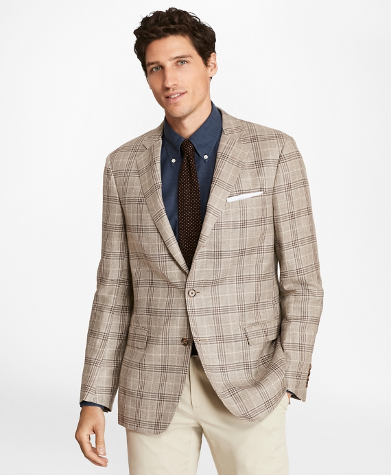 Regent Fit Three-Button Plaid Sport Coat Tan