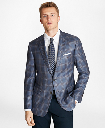Regent Fit Blue and Tan Plaid Sport Coat