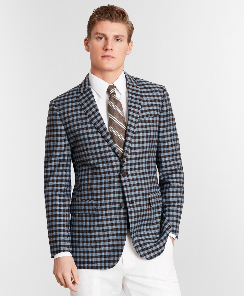 Men's Vintage Style Suits, Classic Suits Brooks Brothers Mens Milano Fit Silk And Linen Check Sport Coat $149.40 AT vintagedancer.com