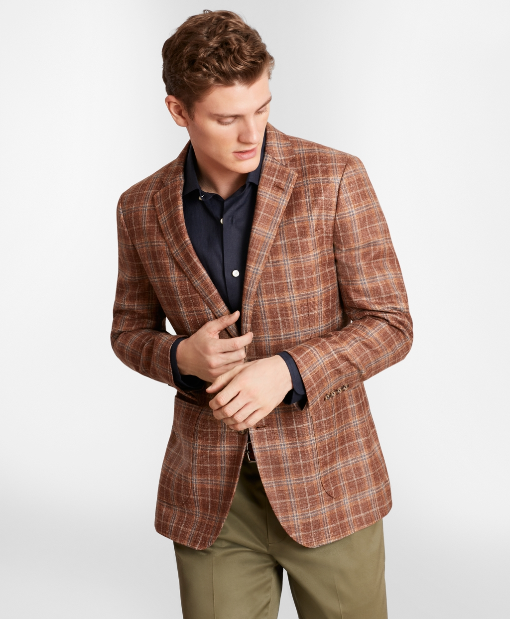 Men's Vintage Style Suits, Classic Suits Brooks Brothers Mens Milano Fit Check Sport Coat $179.40 AT vintagedancer.com
