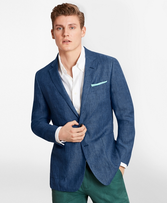 Milano Fit Linen Patch Pocket Sport Coat Bright Blue
