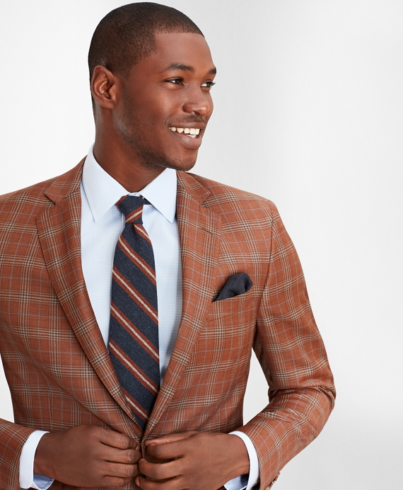 Regent Fit Multi-Plaid Sport Coat Copper