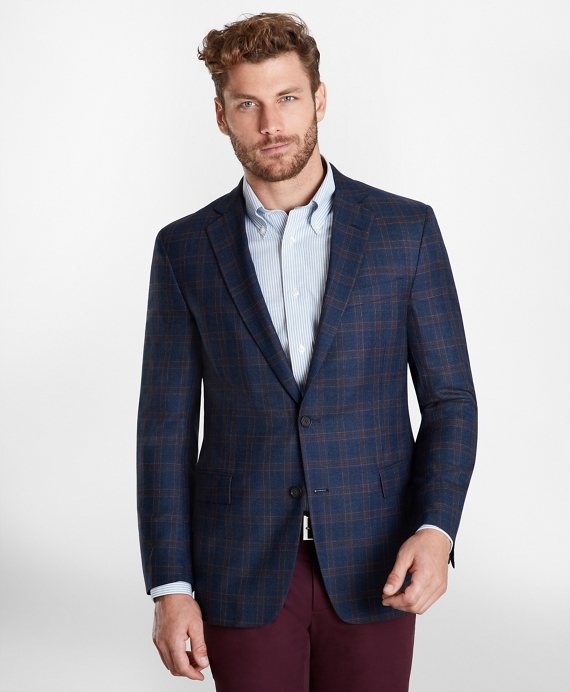 Regent Fit Multi-Plaid Sport Coat Navy