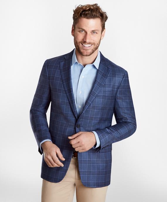 Regent Fit Multi-Plaid Sport Coat Blue