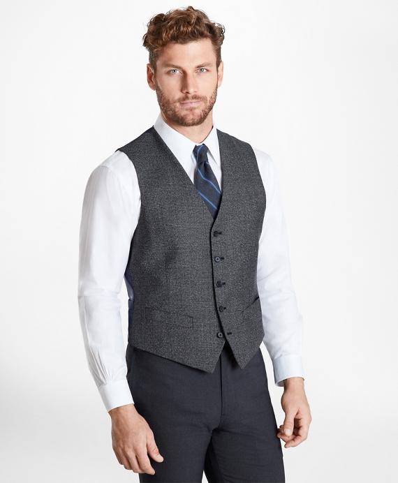 Glen Plaid Five-Button Vest Grey