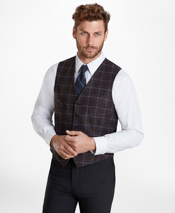 Multi-Plaid Five-Button Vest Grey