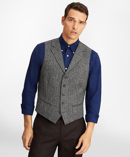 Five-Button Herringbone Tweed Vest