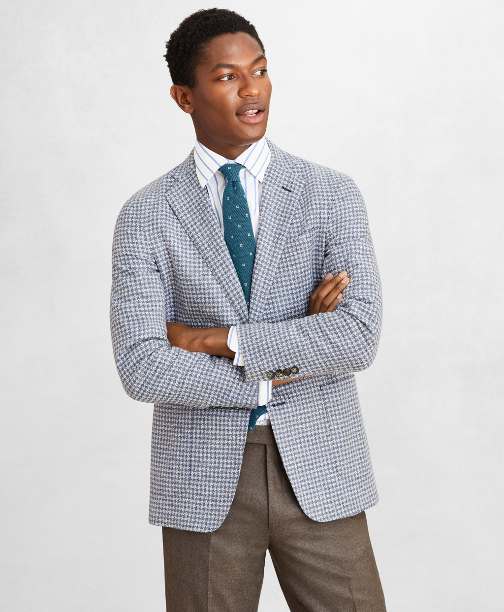 Men's Vintage Style Suits, Classic Suits Brooks Brothers Mens Golden Fleece Wool-Blend Houndstooth Blue Sport Coat $1,188.60 AT vintagedancer.com