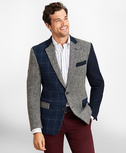 Regent Fit Harris Tweed Mixed Pattern Sport Coat