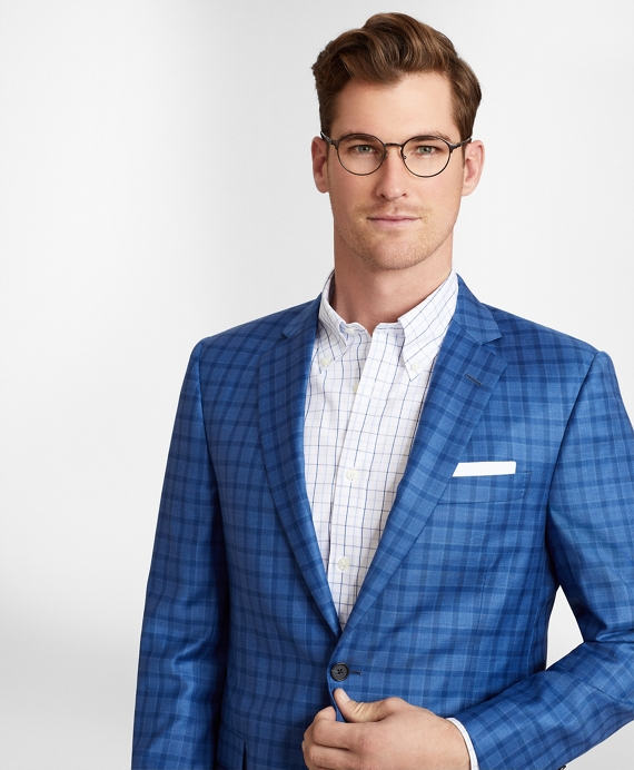 Regent Fit Plaid Sport Coat Blue