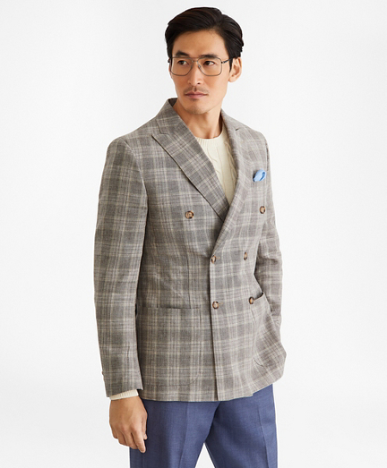 Regent Fit Double-Breasted Check Sport Coat