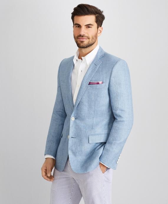 Regent Fit Windowpane Linen Sport Coat Blue