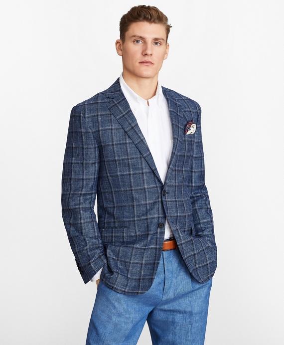 Regent Fit Plaid Sport Coat Blue