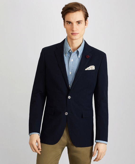Milano Fit Seersucker Sport Coat Navy