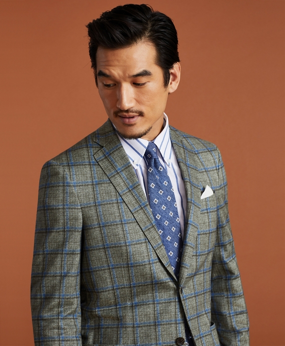 Golden Fleece® Linen-Cotton Plaid Sport Coat Green-Blue