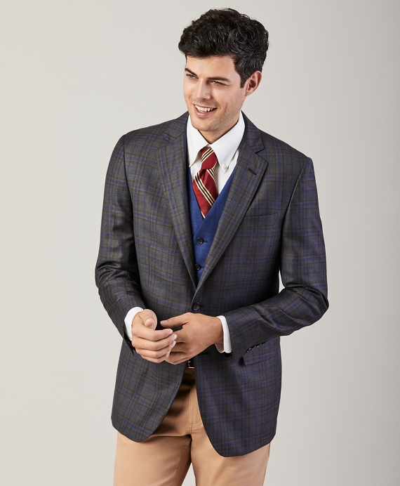 Regent Fit Plaid Sport Coat Grey