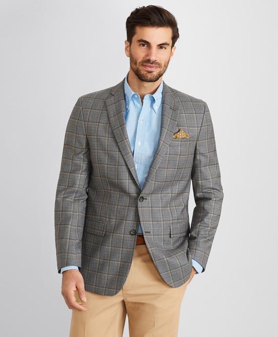 Regent Fit Double Windowpane Sport Coat Grey