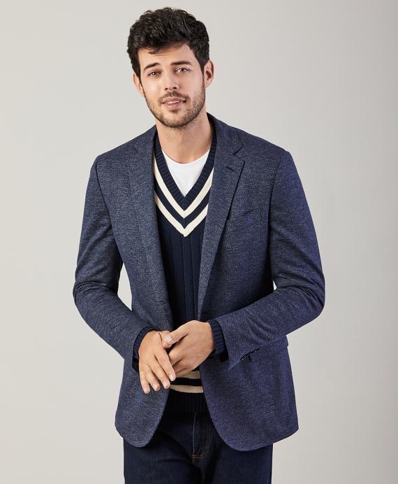 Regent Fit Glen Plaid Cotton-Wool Knit Sport Coat Blue