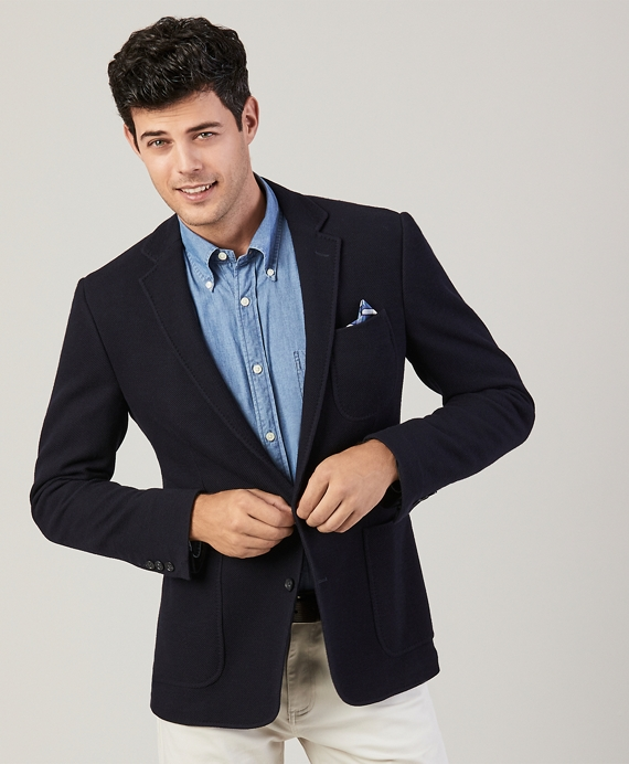 Regent Fit Wool-Cotton Knit Sport Coat Navy