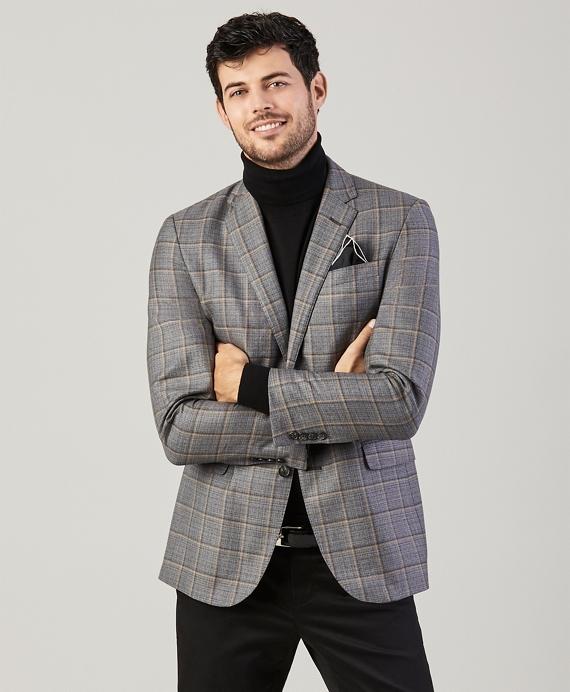 Milano Fit Double Windowpane Sport Coat Grey