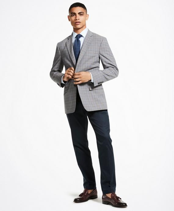 Madison Fit BrooksCool® Double Plaid Sport Coat Grey