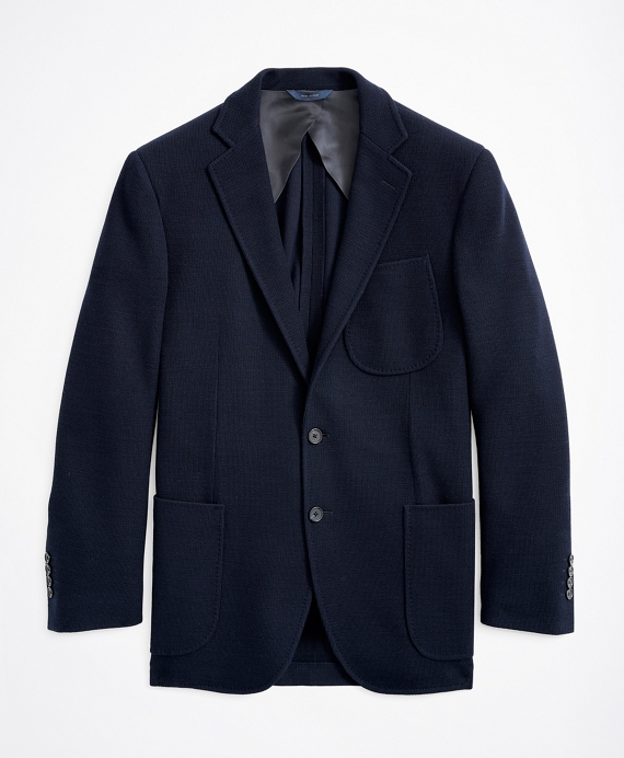 Regent Fit Wool-Cotton Knit Sport Coat Navy