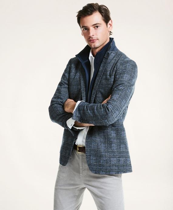 Milano Fit Plaid Knit Sport Coat Blue