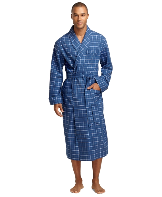 Tattersall Flannel Robe - Brooks Brothers