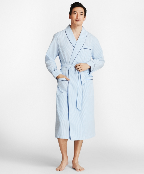 Seersucker Robe Blue