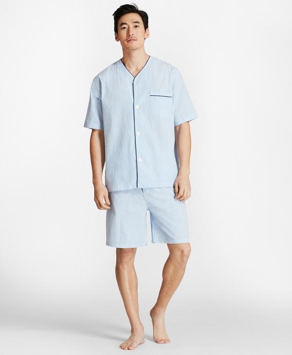 Seersucker Short Pajamas Blue