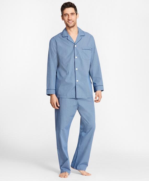 Micro-Ground Check Pajamas Blue