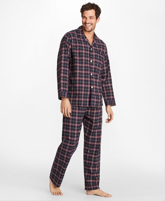 Signature Tartan Flannel Pajamas Navy