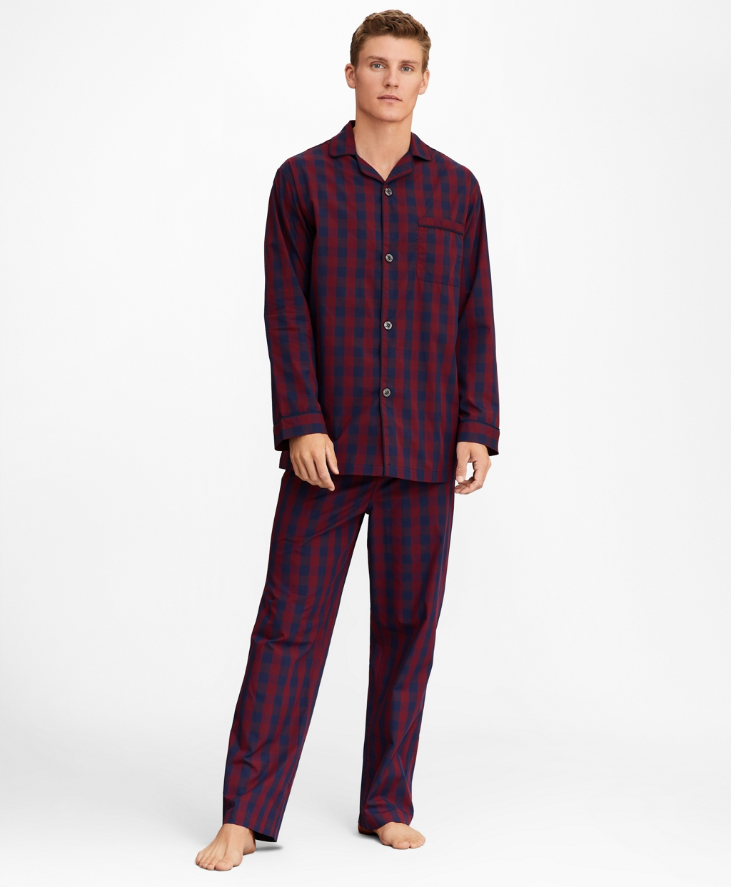 Vintage Men's Underwear Brooks Brothers Mens Buffalo Check Pajamas $98.50 AT vintagedancer.com